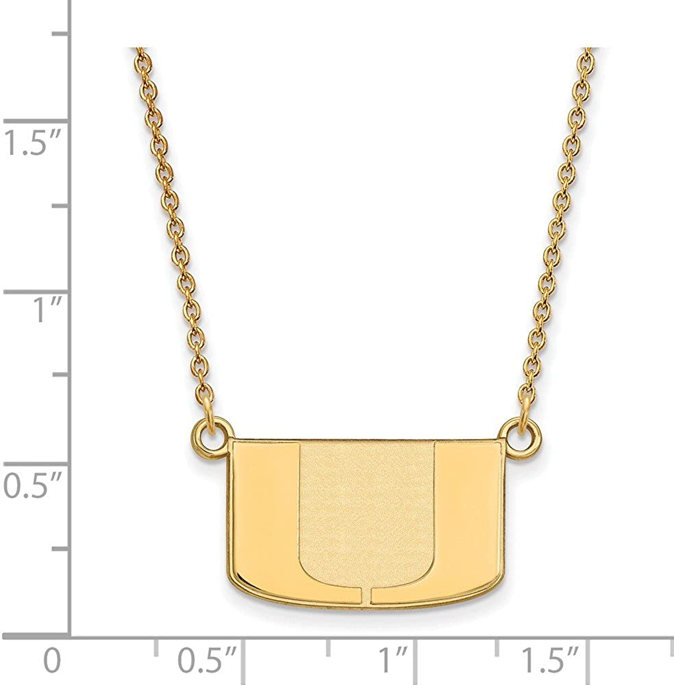 925 Sterling Silver Yellow Gold-Plated Official University of Miami Small Pendant Necklace Charm Chain with Secure Lobster Lock Clasp Width = 20mm
