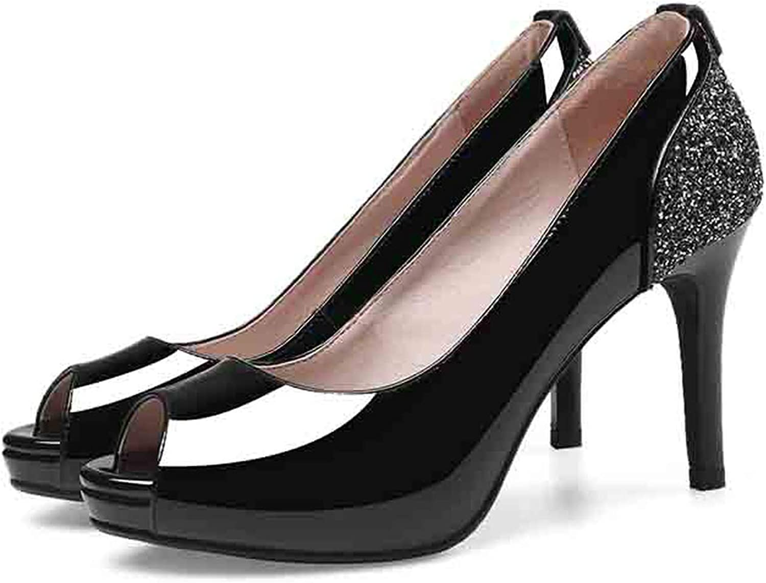 Women Pumps Cow Leather Concise Peep Toe Thin High Heel Casual Summer Women shoes US Size 3-9.