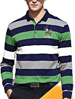 neveraway Men Stripes Tops Sport Back Cotton Tees Polo Shirts with Applique