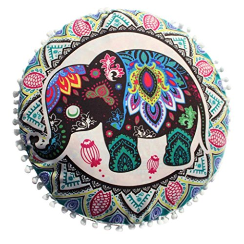 Kword Cuscini Caso, Indiano Mandala Rotondo Bohemien Casa Cuscino Cuscini Divano Elefante Stampa Nappa Cuscini Copertina (A)