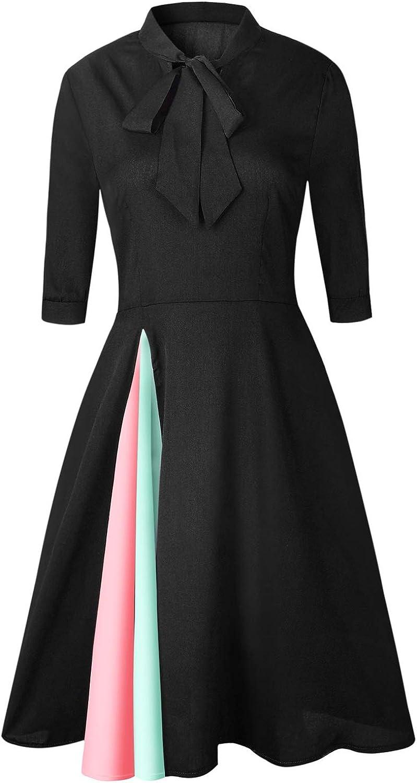 EUIO Newest Women Three colors Vintage Style ALine Half Sleeve Patchwork DoubleLayer KneeLength Dress (color   Black, Size   XL)