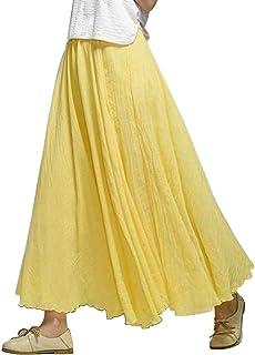 a102ff3519 Women's Full Circle Elastic Waist Band Cotton Long Maxi Skirt Dress