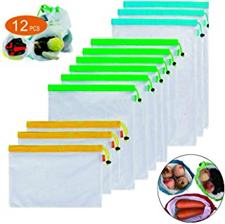 Reusable Produce Bags, CLEYCYE Mesh Vegetable Bags - 12 Set 3 Sizes Eco Bags with Drawstring - Washable Green Bags for Multipurpose Food Fruits Veggies Storage,Premium Grocery Net Shopping Bags