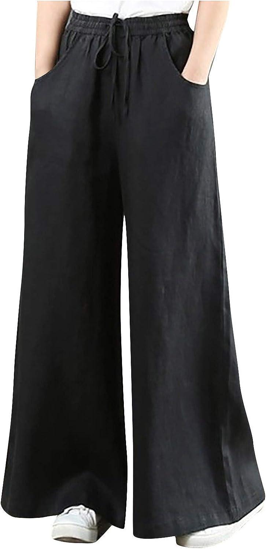 MIVAMIYA Bell Bottom Pants for Women Stretch Long Flare Pants Elastic Waist Lounge Pajamas Pants Comfy Soft Casual Trousers