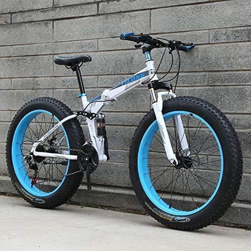 Leggero , Fat Tire Bike for per gli uomini le donne, Folding Mountain bike biciclette, acciaio al carbonio Telaio, Hardtail sospensione doppia montatura, doppio freno a disco Liquidazione dell'inventa