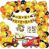 Juego de 57 decoraciones para fiesta de cumpleaños de BAU, pancartas de feliz cumpleaños, globos de aluminio de camión de bomberos, globos de excavadora, adornos para tartas, pegatinas