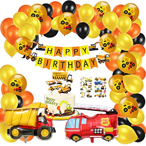 57 pezzi BAU Birthday Party Decorations Set - Happy Birthday Banners, Big Truck Fire Engine in alluminio Balloons, Excavator Balloons, Cake Toppers, Stickers