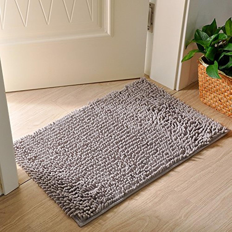 QIYUEQI Fuß Pads Plüsch 60  90 cm einfarbig grau Strapazierfähige Avantgarde Cartoon Einfache Familie Küche WC Studie Fußmatte B07D78DR63
