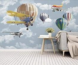 Papel pintado tejido no tejido 3D - Dibujos animados globo aerostático avión paisaje 150x105 cm - 3 tiras Fotomurale Moderna para Dormitorio Sala de Niños Pasillo TV Decoración de Fondo