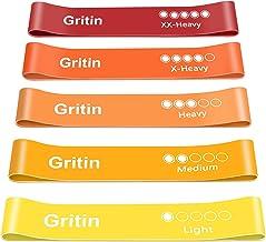 Gritin Weerstandsbanden [Set van 5] Huidvriendelijke weerstand Fitness Oefenbanden met 5 verschillende weerstandsniveaus -...