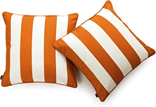 Hofdeco Indoor Outdoor Cushion Cover ONLY, Water Resistant for Patio Lounge Sofa, Fall Orange White Stripes, 45cmx45cm, Se...