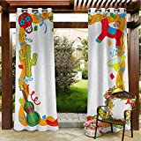 Fiesta Thermal Insulated Blackout Curtain Grommet Patio Panel 72'x84' Cartoon Drawing Style Mexican Pinata Taco Chili Pepper Sugar Skull Pattern Guitar Multicolor