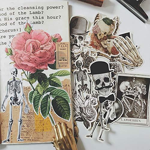 PMSMT 14 unids/Set Retro Sexy Esqueleto Hueso cráneo Vintage Pegatina DIY artesanía álbum de Recortes Diario planificador Feliz Pegatinas Decorativas