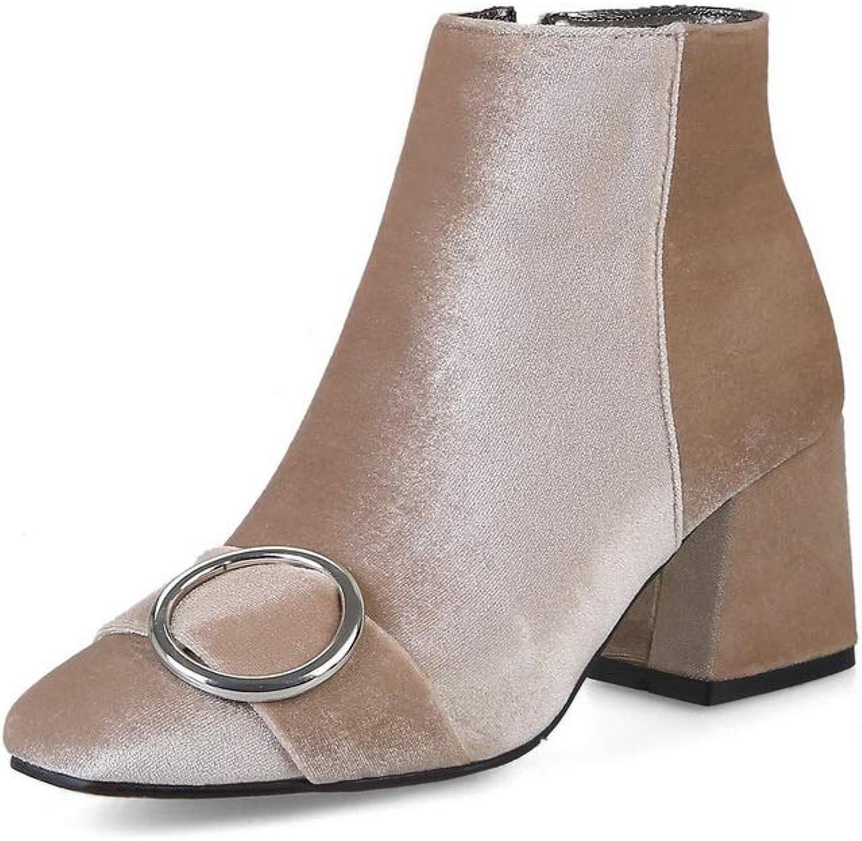 AdeeSu Womens Chunky Heels Metal Buckles Zipper Imitated Suede Boots SXC03235