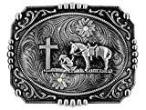 Moranse Religion Cross Cowboy And Horse Design Belt Buckles (Square Silver)