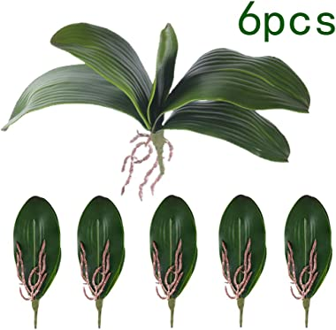 Miracliy Phalaenopsis Orchids Leaves Artificial Real Looking Roots Latex Touch Plants Green Faux Leaf Arrangement,6 PCS