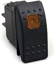 Amarine-made 12v 20 Amp Waterproof Amber LED On/Off Boat Marine SPST 3P Rocker Switch with Light - Orange LED