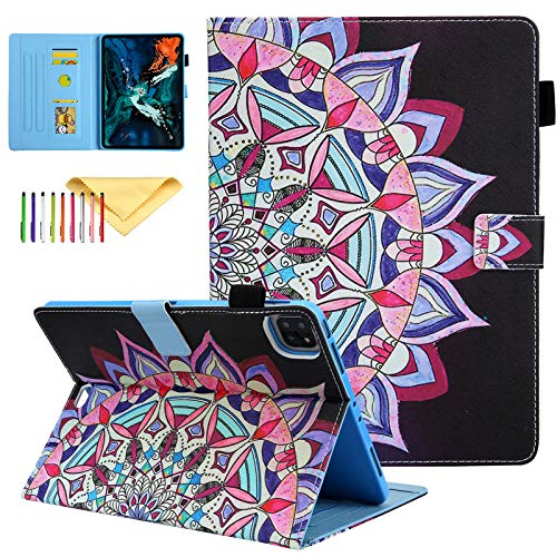 Uliking for iPad Air 4 10.9 2020 Case, iPad Pro 11 2020/2018 Case, Colorful Lightweight PU Leather Skinshell Stand Protective Smart Covers, Mandala