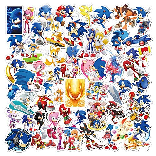 MIAOGOU Mario stickers 16PCS Set Kids Stickers Super Sonic the Hedgehog Sonic Knuffel Knuckles Figures Sticker For Laptop Bike Skateboard Luggage