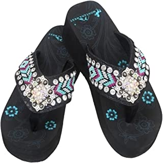 Montana West Aztec Hand Beaded Collection Rhinestone Flip Flops Sandals