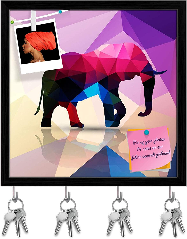 Artzfolio Geometric Polygonal Elephant Key Holder Hooks   Notice Pin Board   Black Frame 20 X 20Inch
