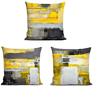 Decor MI Just Pillowcases Modern Grey Yellow Abstract Throw Pillow Covers Linen Square Pillowcase Decorative Cushion Pillow Covers with Zipper Sofa Bedroom Living Room Home Decor 18x18 inch, Set of 3
