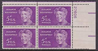 US 1963 5-Cent Eleanor Roosevelt Mint Plate Block of Four Postage Stamps, Catalog No 1236