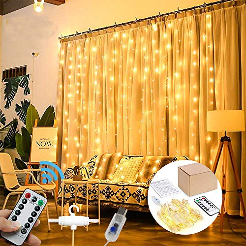 Christmas String Lights 300 LED Window Curtain Lights with 8 Modes USB Powered Fairy Lights for Birthday Wedding Party Home Bedroom Garden Outdoor Indoor Wall Decorations(9.8x9.8FT,Warm White)