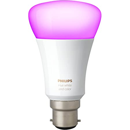 Philips Hue Bombilla LED B22, 10 W (potencia equivalente 60W), 220 V-240 V, Ángulo de haz -160° + - 20°, luz blanca y de color