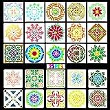 GZLCEU 25 plantillas de mandala reutilizables, para pintar sobre madera, piedra, tejidos, muebles, paredes, manualidades, azulejos de suelo, libro de visitas (11 x 11 cm / 15 x 15 cm)