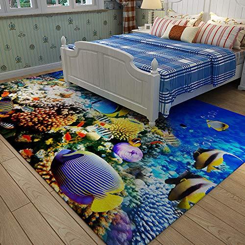 CMwardrobe Designer Tapis Salon Chambre Maison Tapis Vinyl Modèle 3D de Monde sous-Marin Bleu Grande Area Rug Lavable Durable Grande Tapis Déco 200×300CM(6ft7 x 9ft10)