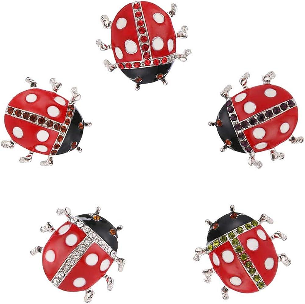 Apol 5 PCS Fashionable Ladybug Max 80% OFF Brooch Beet Crystal Pin Ranking TOP2 Women for