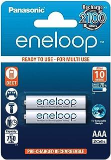 Panasonic eneloop, NiMH-accu gereed voor gebruik, AAA micro, verpakking van 2, 750 mAh, 2100 laadcycli, met hoog vermogen ...