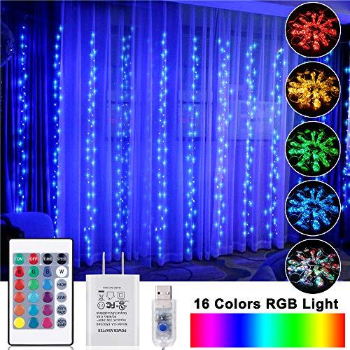 OPOLEMIN Window Curtain Lights Color Change Curtain String Lights of 300 RGB USB Powered, 16 Lighting Colors 4 Light...