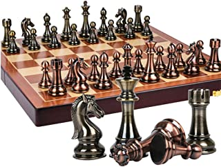 Metal Chess Set with 20 Inch Deluxe Wood Chessboard - Upgraded Magnetic Chesspiece - Perfect for International Game, Home ...