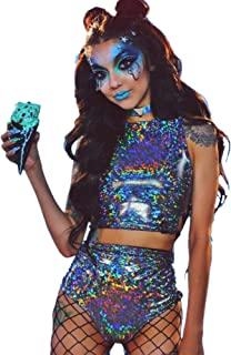 Women Rave Crop Top & Booty Shorts Bottoms Metallic Silver Hologram Outfit