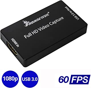 HornetTek HDMI USB 3.0 Video Capture Device 1080P 60 Frame Per Second 60FPS USB Video & Audio Grabber for Xbox PS4 (Black) Zoom Compatible
