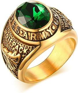 Men's Retrol Titanium Steel Army Green Diamond Rings
