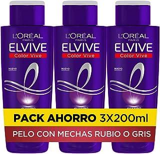 LOreal Paris Elvive Color Vive - Champú Violeta Matizador para Pelo Teñido Rubio Decolorado o Gris - Pack Ahorro de 3 U...