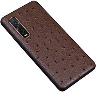 For Oppo Find X2 Pro 6.7 Inch Case, Ostrich Pattern Leather Phone Shell Anti-Fall Shockproof Phone Protective Back Cover,B...