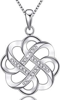 EURYNOME Mothers Gift 925 Sterling Silver Endless Love Vintage Irish Celtic Knot Pendant Necklace for Women Girls,Jewelry Gifts for Her