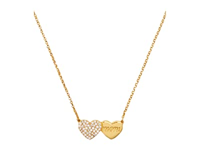 Kate Spade New York Mom Knows Best Pave Heart Mom Pendant Necklace (Clear/Gold) Necklace