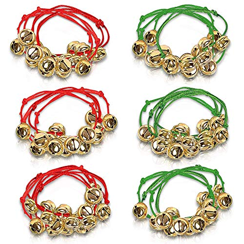 ArtCreativity Jingle Bell Bracelets, Set of 24, Red and Green Adjustable Holiday Bell Bracelets, Christmas Stocking Stuffers for Kids and Adults, Fun Holiday Gifts and Goodie Bag Fillers