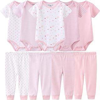 Baby Layette Set Baby Boys' 9-Piece Bodysuits Pants Set Toddler Girl Boy Unisex Baby Gift Sets