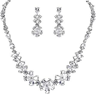 Clearine Women's Wedding Bridal Cubic Zirconia Multi Flower Collar Necklace Dangle Earrings Set Clear Silver-Tone