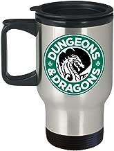 Dungeons and Dragons Coffee Starbucks Logo Parody Metallic Travel Coffee Mug - Funny Gift Idea for Geeks and Nerds