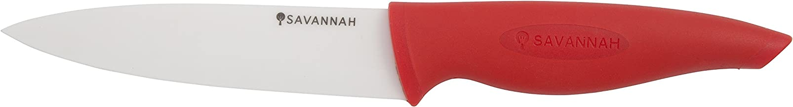 SAVANNAH SAV-0402 Ceramic Prep Knf & Sheath, 13cm, Red/White