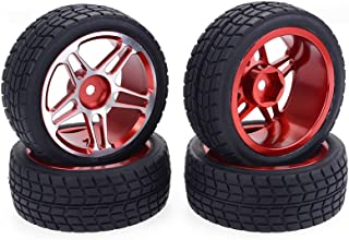 RC Tires Wheels 1/10 Scale 12mm Hex RC Drift Car Tires & Wheel Rims with Aluminum Alloy More Durability for Traxxas Redcat HSP HPI Losi, RC Car Accessories, Black and Red 4 Pcs