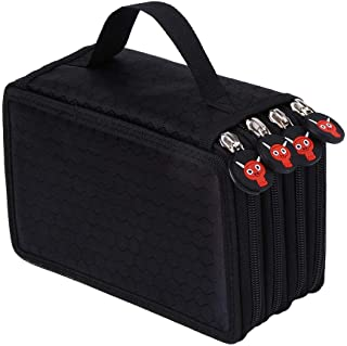 Pencil Pen Brush Bag Case Box 4 Layer Zipper 72 Holders with Carrying Handle