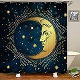 SARA NELL Mond & Sterne Duschvorhang Mond & Sterne im antiken Stil Badezimmerzubehör Aquarell 182,9 x 182,9 cm Badezimmer Dekor mit Haken